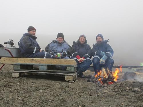 Fra venstre: Espen Halvorsen, Kaare-Martin Ellefsen, Bjørn Ove Finseth og Kåre Holter Solhjell. Foto: Ellefsen/Solhjell