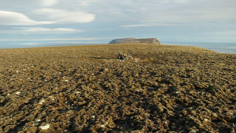 Utsikt fra toppen av Kollerfjellet. Toppen ligger på vestsiden av platået. På bildet sees en varde som ble satt opp, men som naturkreftene har klart å jevne ned ganske mye. I bakgrunnen sees Werenskioldfjellet i sør.