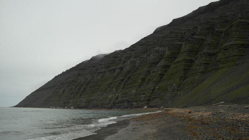 Vestveggen med fuglefjellet sett fra Bjørnstranda.