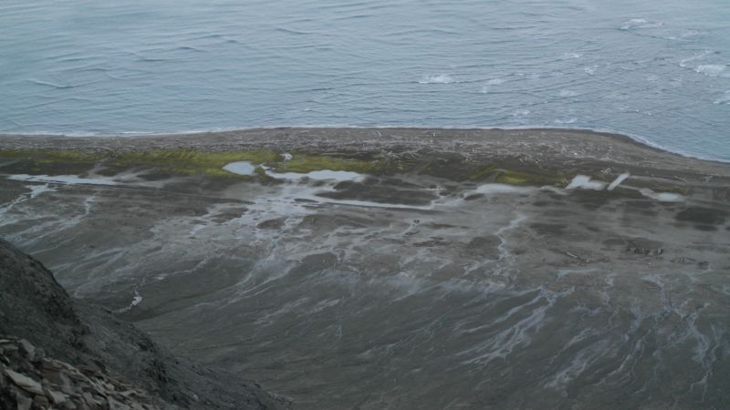 Rester av rullebanen sett fra toppen av Småhumpen.