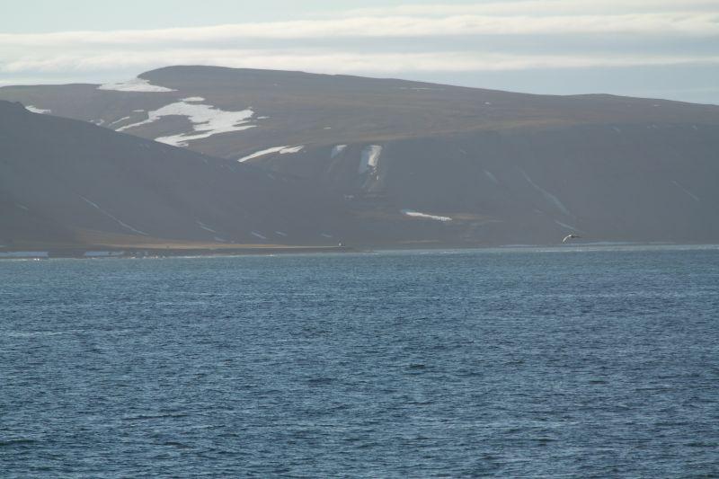Kofoedodden sett fra sjøen øst for odden om bord i KV Svalbard