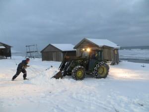 Vi fyller traktorskufla med hvit og rein vare