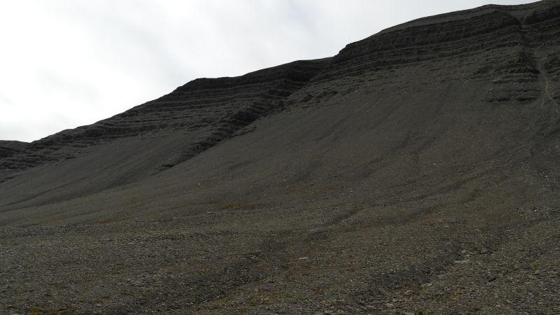 Øverst i denne skråningen opp mot Heniesalen fra Egsetstranda fløy Tupolevflyet inn i fjellveggen i tett tåke  . Foto: Bjørn Ove Finseth