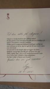Brevet som fulgte med bildet. Hyggelig av H.M. Dronningen å sende oss en slik hilsen. Den må rammes inn og henges opp ved bildet på kjøkkenet.