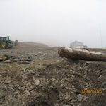 Traktor er fint å ha når kraftige stokker med tømmer skal flyttes på.